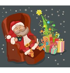 Funny Color Christmas background with Santa Claus vector image vector image