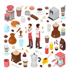 isometric bartender and coffee cafe collection vector image vector image