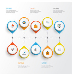 Job flat icons set collection of statistics pie vector