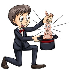 Magician and a cute bunny vector image