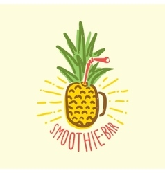 Smoothie bar pineapple cup vector image vector image