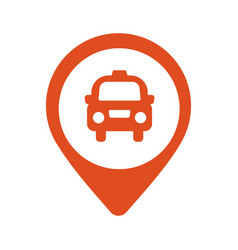 taxi icon map pin with taxi car sign vector image vector image