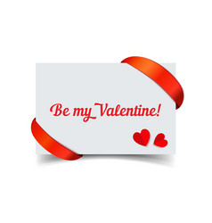 valentine day paper card with red ribbon vector image vector image