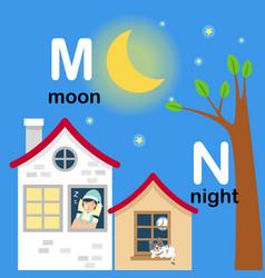 alphabet letter m-moon n-night vector image
