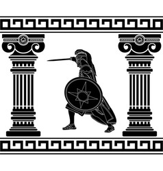 black warrior with with columns third variant vector image vector image