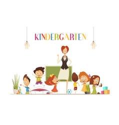 Kindergarden Teacher With Kids Cartoon vector image