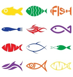 Set of creative colorful fish icons vector image