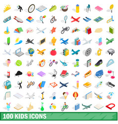 100 kids icons set isometric 3d style vector