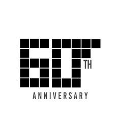 60 th anniversary pixel model template design vector