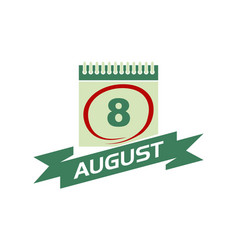 8 august calendar with ribbon vector