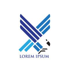 abstract blue hawk logo vector image