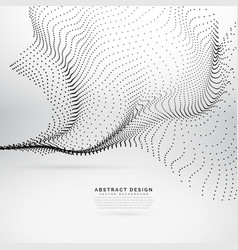 Abstract flowing wave made with black dots vector