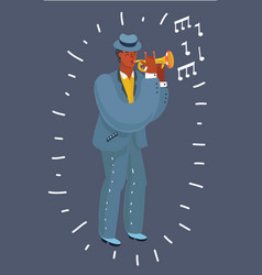 african american trumpet player playing music vector image