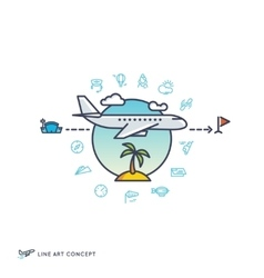 air travelling airplane flight concept vector image
