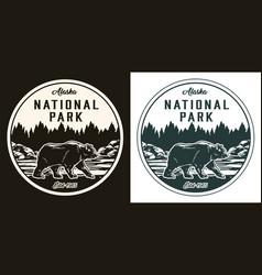 Alaska national park round monochrome label vector