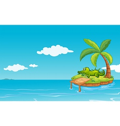 An alligator at the small island vector