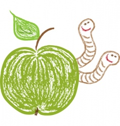 apple with worms vector image