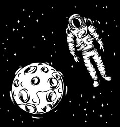 astronaut with moon vector image