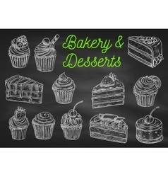 Bakery and desserts chalk sketch icons vector