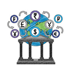 bank building with planet and coins vector image