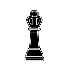 black chess king piece on white background vector image