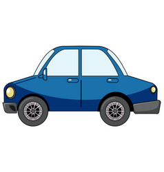 blue sedan car in cartoon style isolated on white vector image