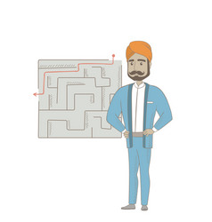 Businessman looking at labyrinth with solution vector