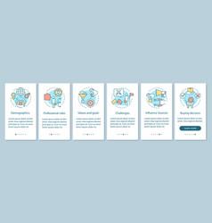Buyer persona onboarding mobile app page screen vector