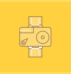 camera action digital video photo flat line vector image