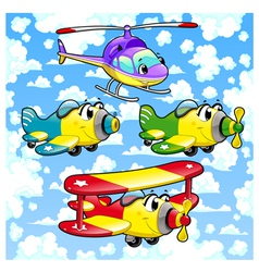 Cartoon airplanes and helicopter in the sky vector