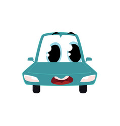 Cartoon car character wih surprised human face vector