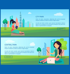 Central city park promotional internet banners set vector