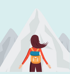 character girl with backpack in mointains in vector image