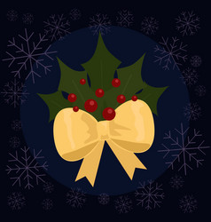 christmas leaves flat vector image