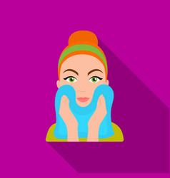 cleaning of face skin icon in flate style isolated vector image