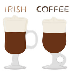 cocktail creamy irish coffee in glass cup with vector image