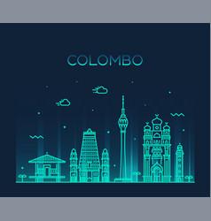 colombo skyline sri lanka linear style vector image