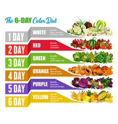 color detox diet fruits and vegetables vector image