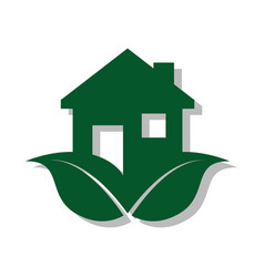 color pictogram with ecological house vector image