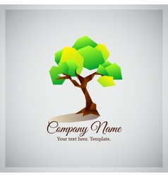 Company business logo with geometric green tree vector image