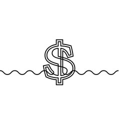 continuous line drawing dollar sign on waves vector image