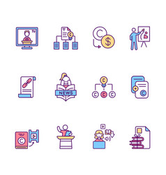 Copyright rgb color icons set vector