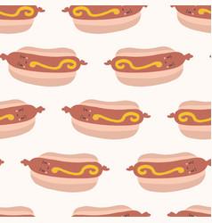 Cute hot dog in bun with mustard cartoon vector