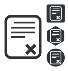 Declined document icon set monochrome vector