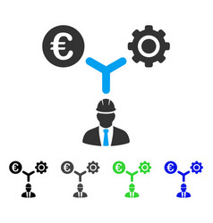 Euro development relations flat icon vector