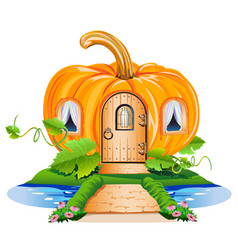 fairy little house made of pumpkin vector image