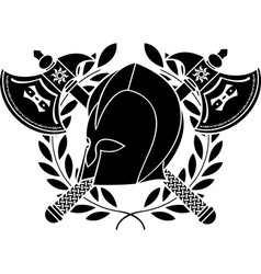 Fantasy barbarian helmet with axes and laurel vector