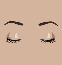 female eyes closed sleeping girl beautiful eyes vector image