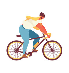 flat bright young woman riding a bycicle isolated vector image