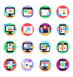 Flat round icons of website development vector